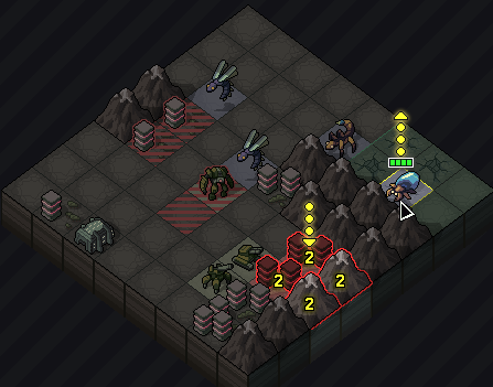 A mockup for an early attempt at showing an artillery attack by the bugs.