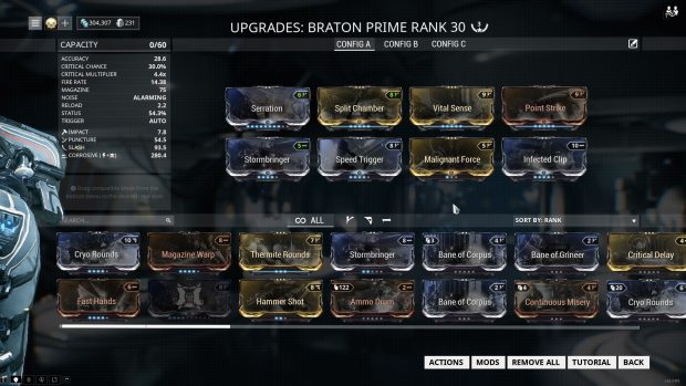 equipment screen for Braton Prime Warframe