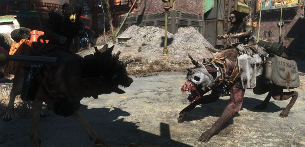 fallout 4 s ruff riders mod adds dog riding raiders rock paper shotgun
