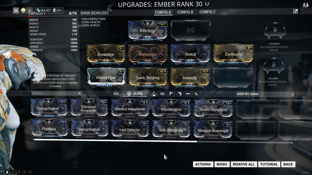 equipment screen for equipping mods into the Ember warframe