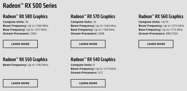 AMD RX 500 specs