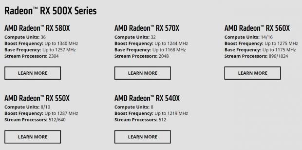AMD RX 500X specs