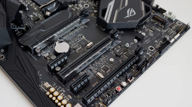 The Crosshair's M.2 heatsink can go on either SSD slot.