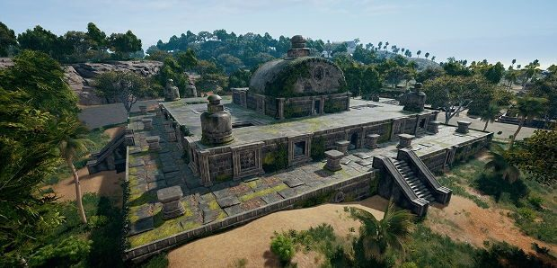 An overhead view of the ruins in Sanhok