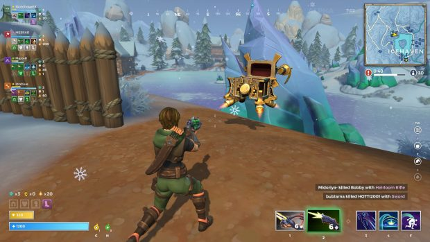 Un cazador mira un cofre del tesoro flotante ya abierto saqueado por el ingeniero en el equipo