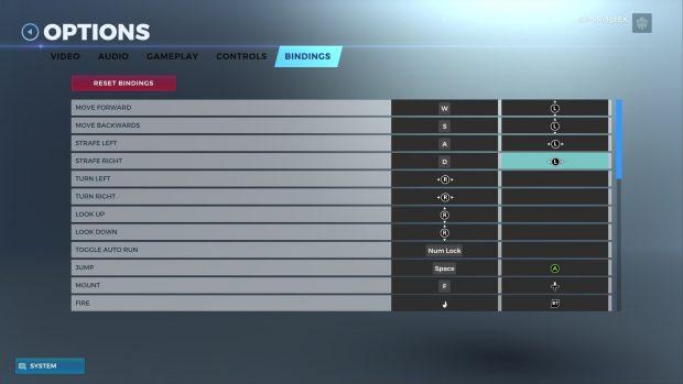 Key rebinding screen for Realm Royale