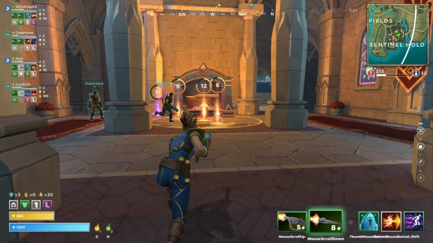 Players in a forge crafting items. Cooldowns are visible.