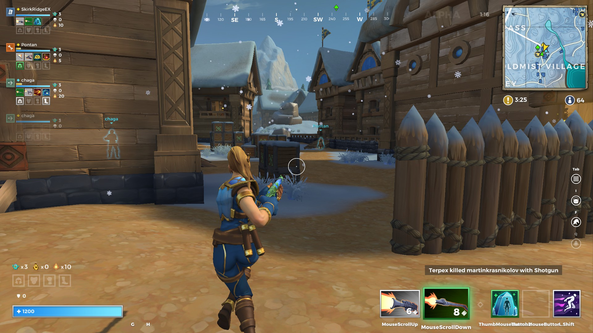 A view of Coldmist village in Realm Royale