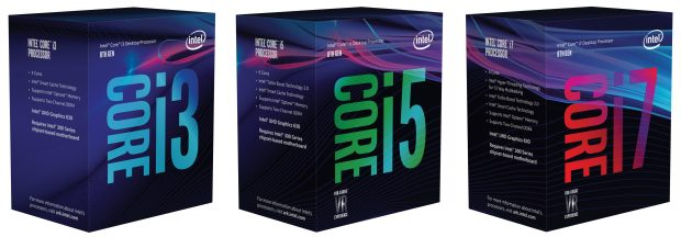 Intel 8th Gen Coffee Lake CPU boxes