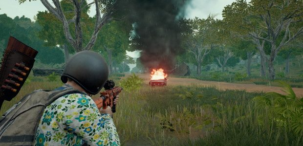 Player looking at a blown up car