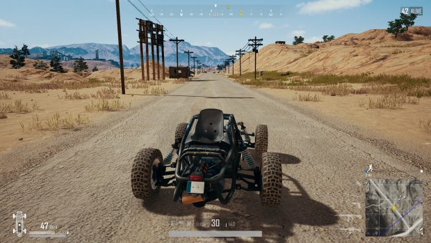 Player driving on a side road in Miramar