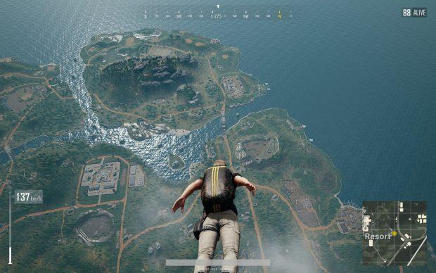 Player skydiving into Sanhok