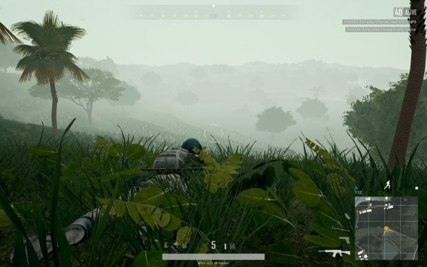 Player on a hill trying to shoot through the fog