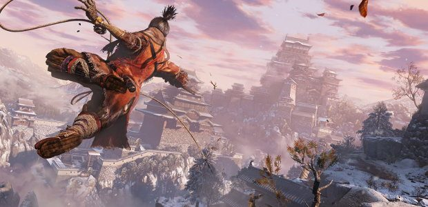 The shinobi uses his grappling hook while in mid-air