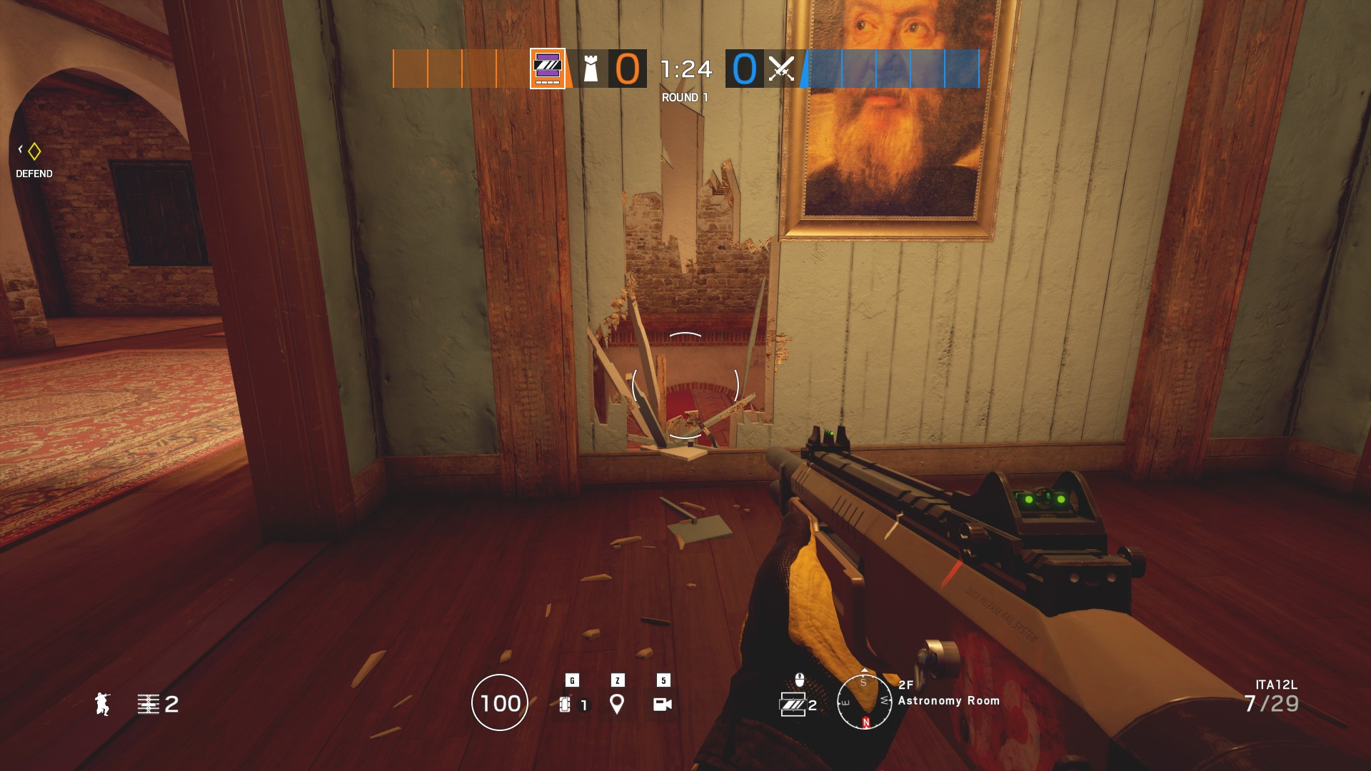 Player has shot a hole into the wall with a painting in the astronomy room
