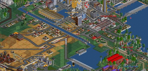 A screenshot of a city in Open Transport Tycoon Deluxe.