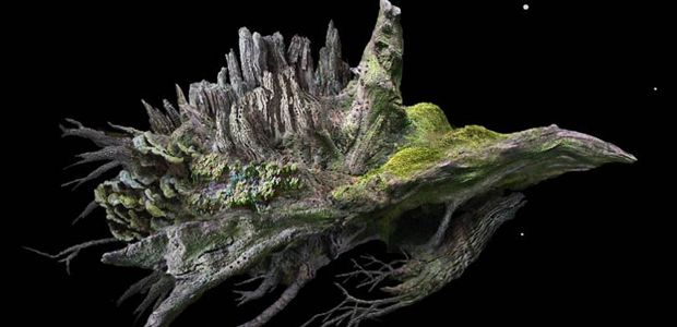 The space object from Samorost, which looks like a gnarled tree root.