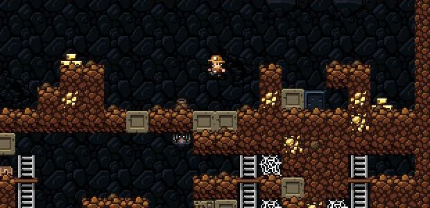 Spelunky Man leaping through a mine level in Spelunky.