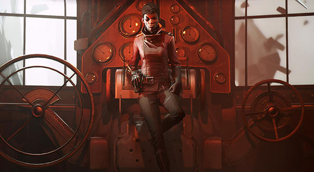Key art for Death Of The Outsider, showing protagonist Billie Lurk leaning on an engine with lots of levers. There are large metal hand wheels on either side of her, as well as two large backlit windows.