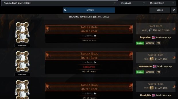 path of exile official trade site