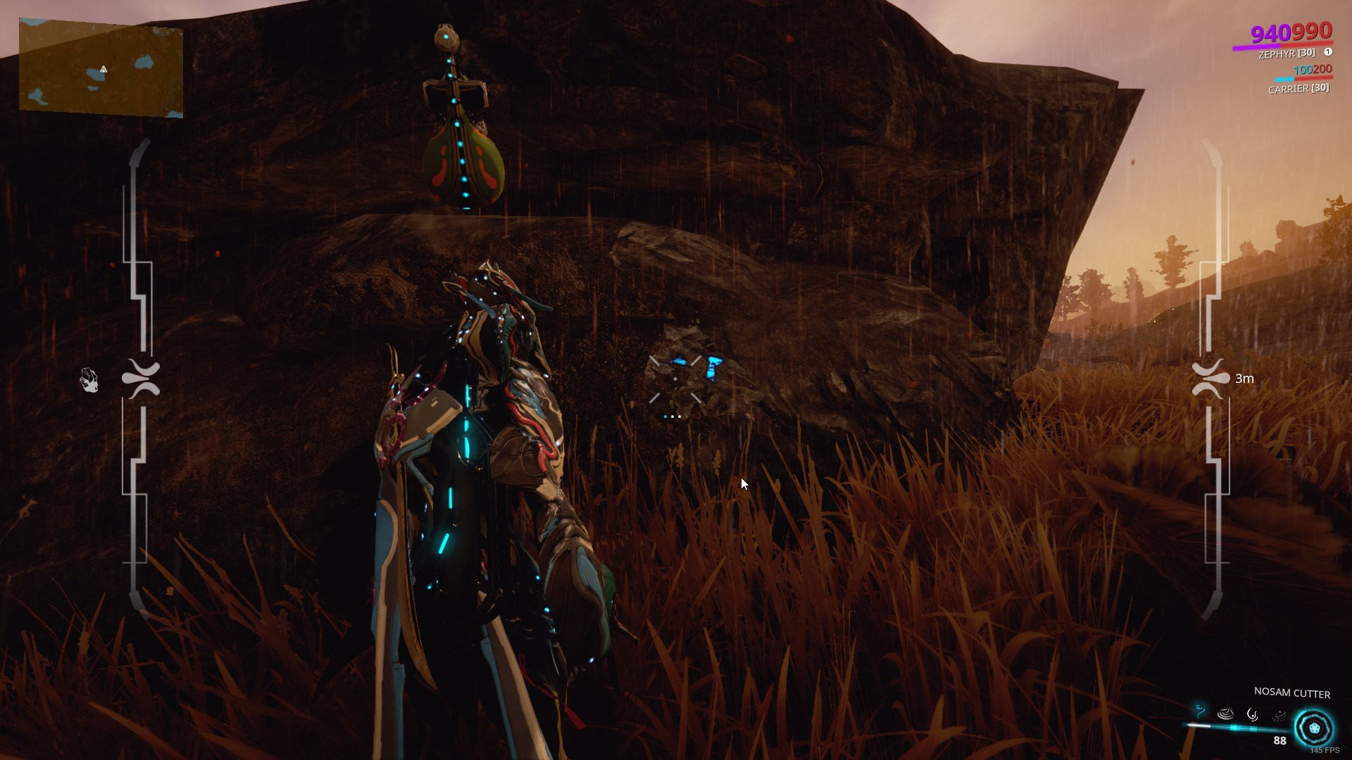 a warframe preparing to mine a rock