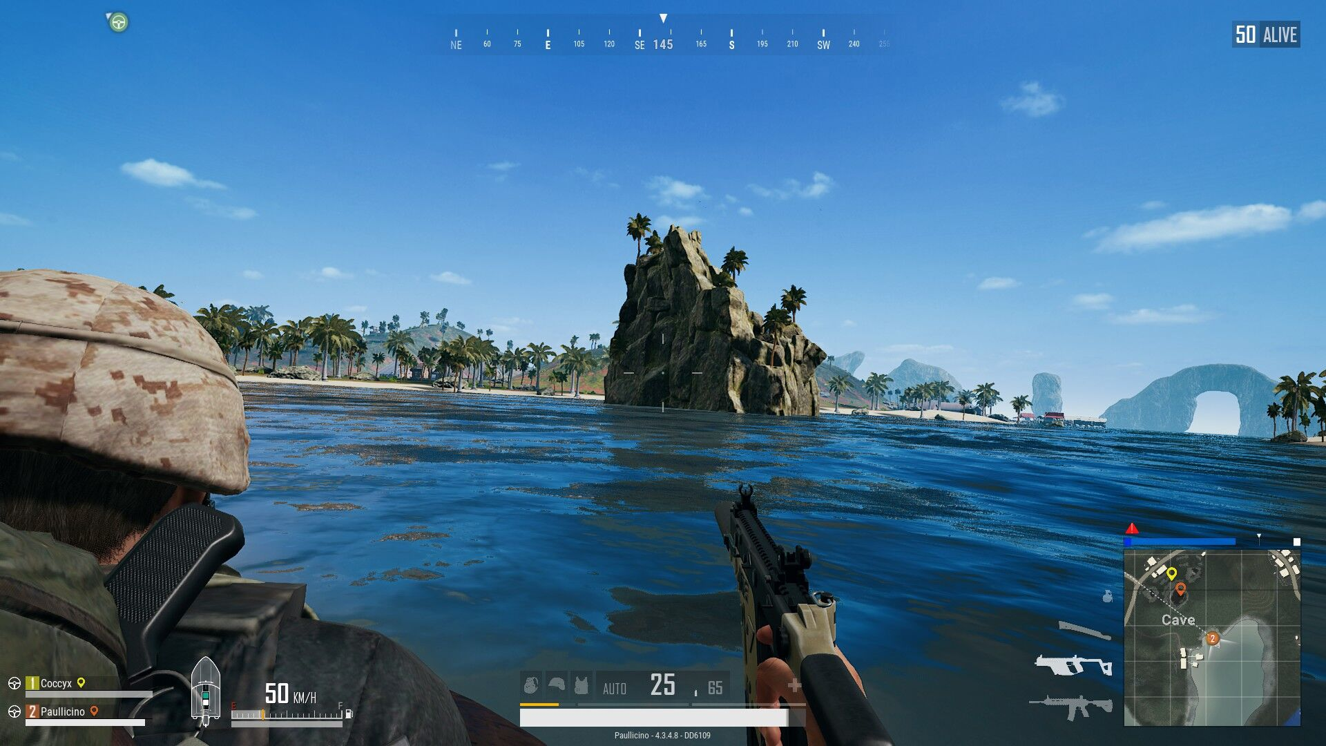 The player is riding a motorbike in the ocean that surrounds Sanhok.