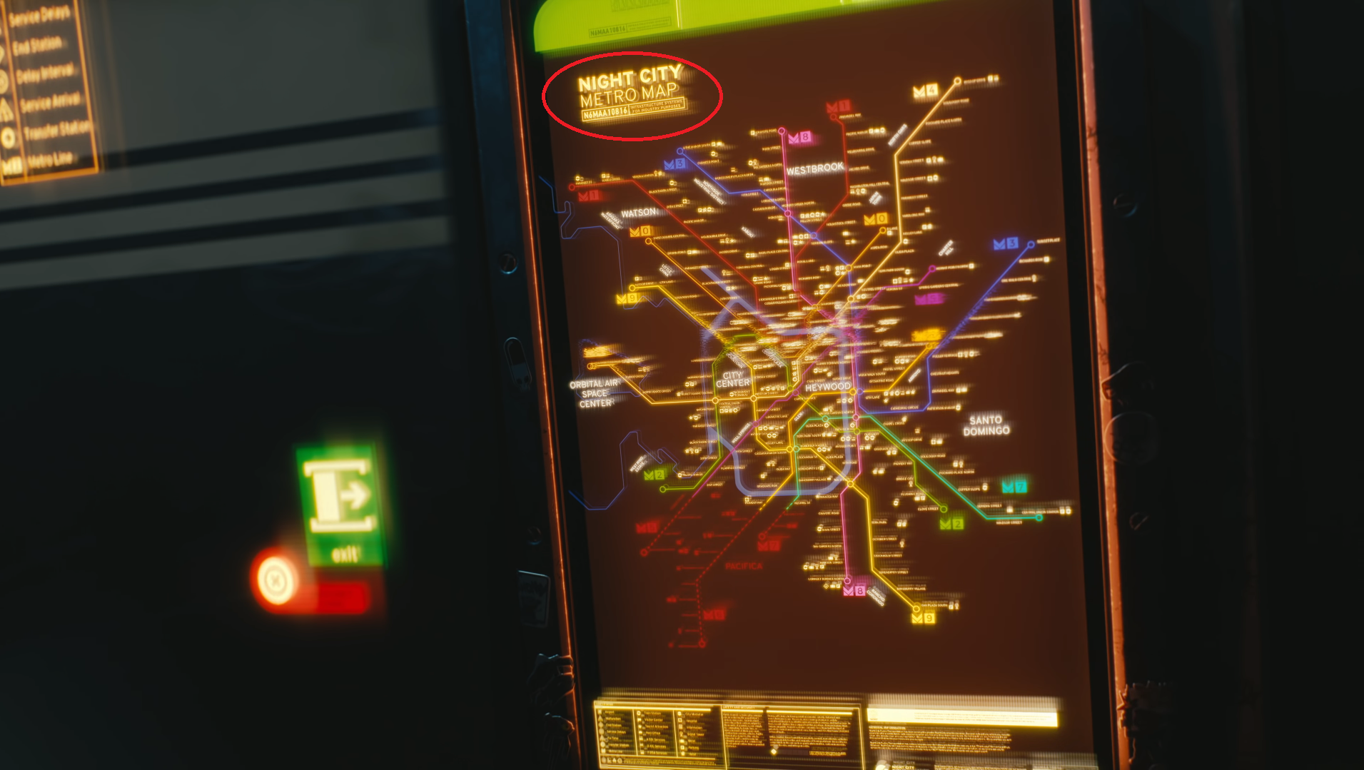 Night City Metro map with part of it circled. It says N6MAA10816.