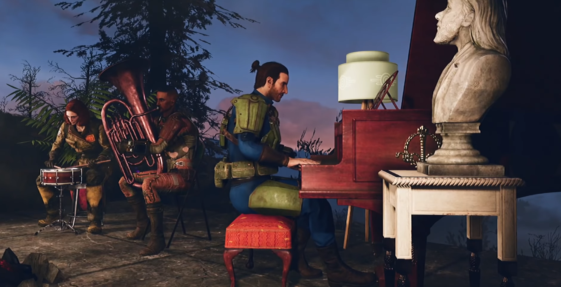 Three players playing a variety of different instruments