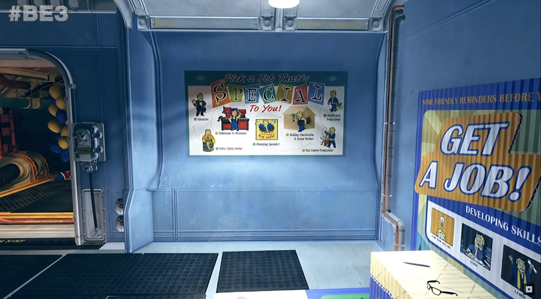 Player in Vault 76 looking at a poster with seven job types indicated.