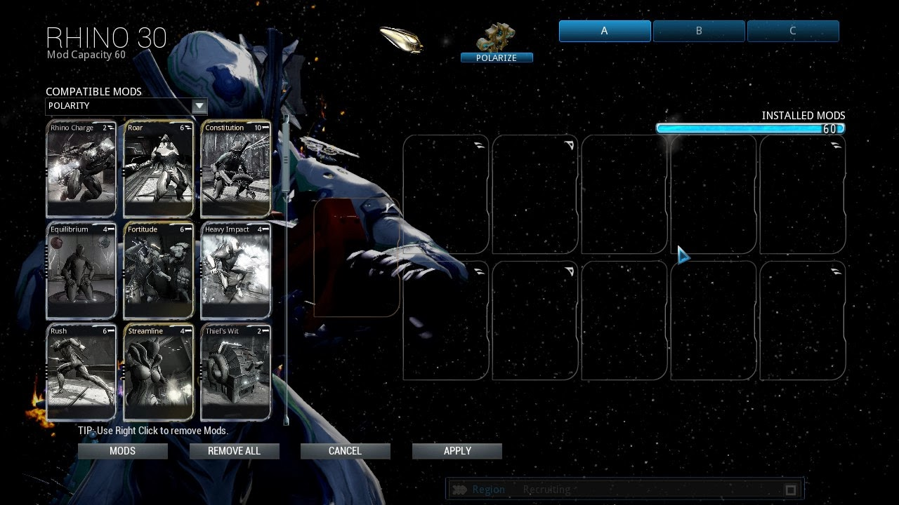 warframe mods selection screen