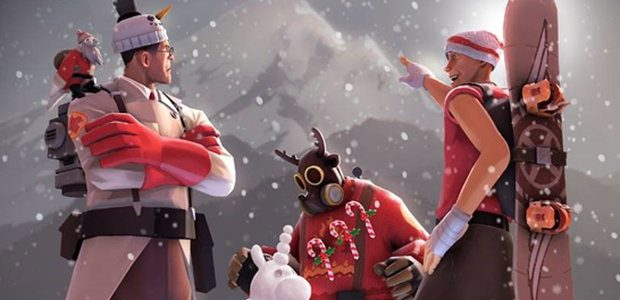 The Medic, Pyro and Scout in a winter scene from Team Fortress 2.