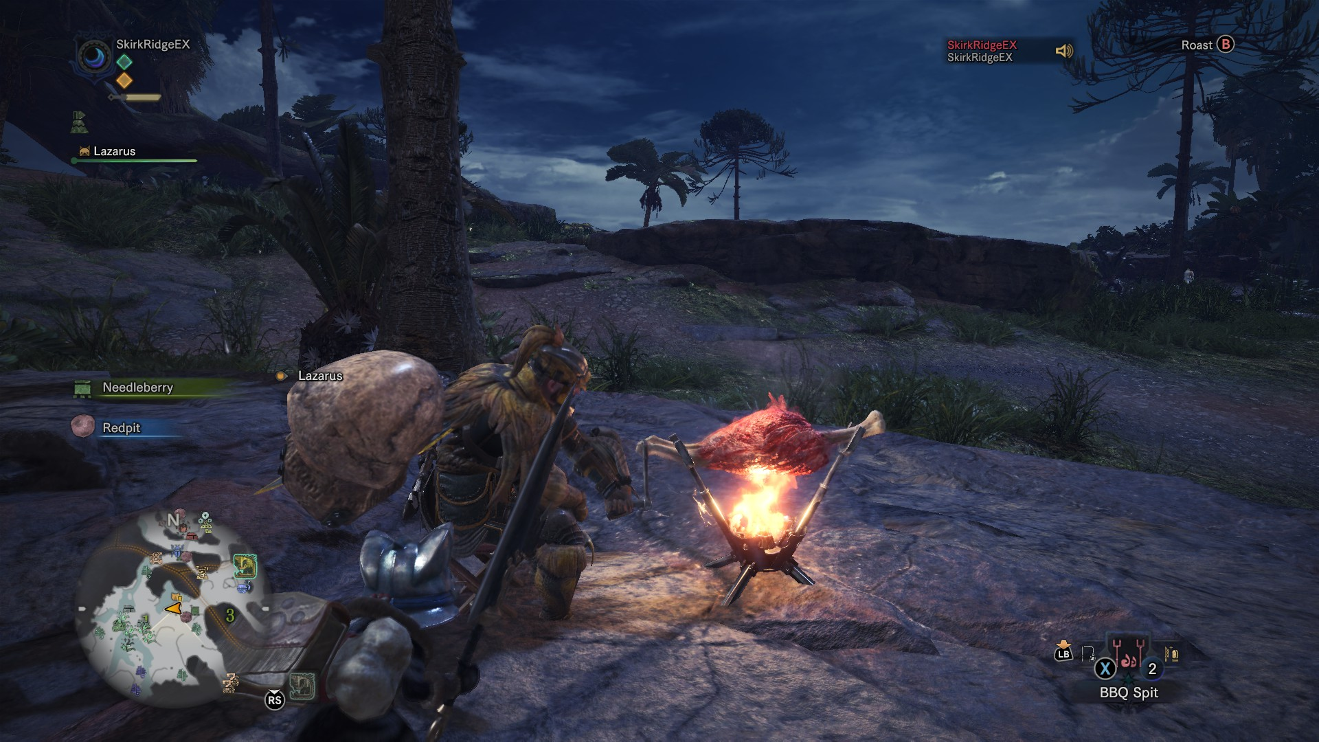 Player is barbecuing meat at night.