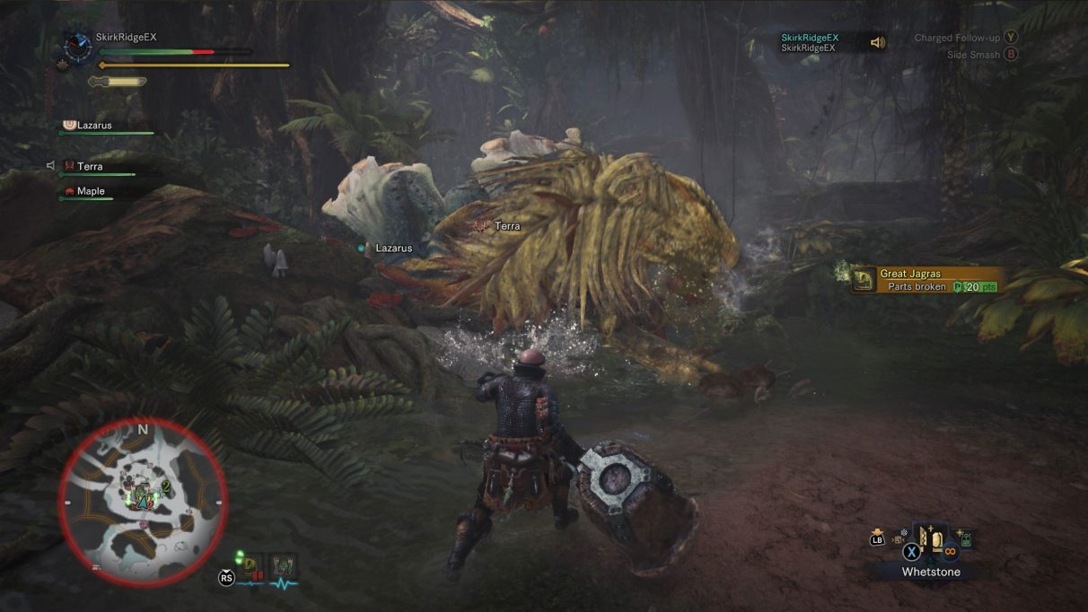 Player has just broken part of the Great Jagras