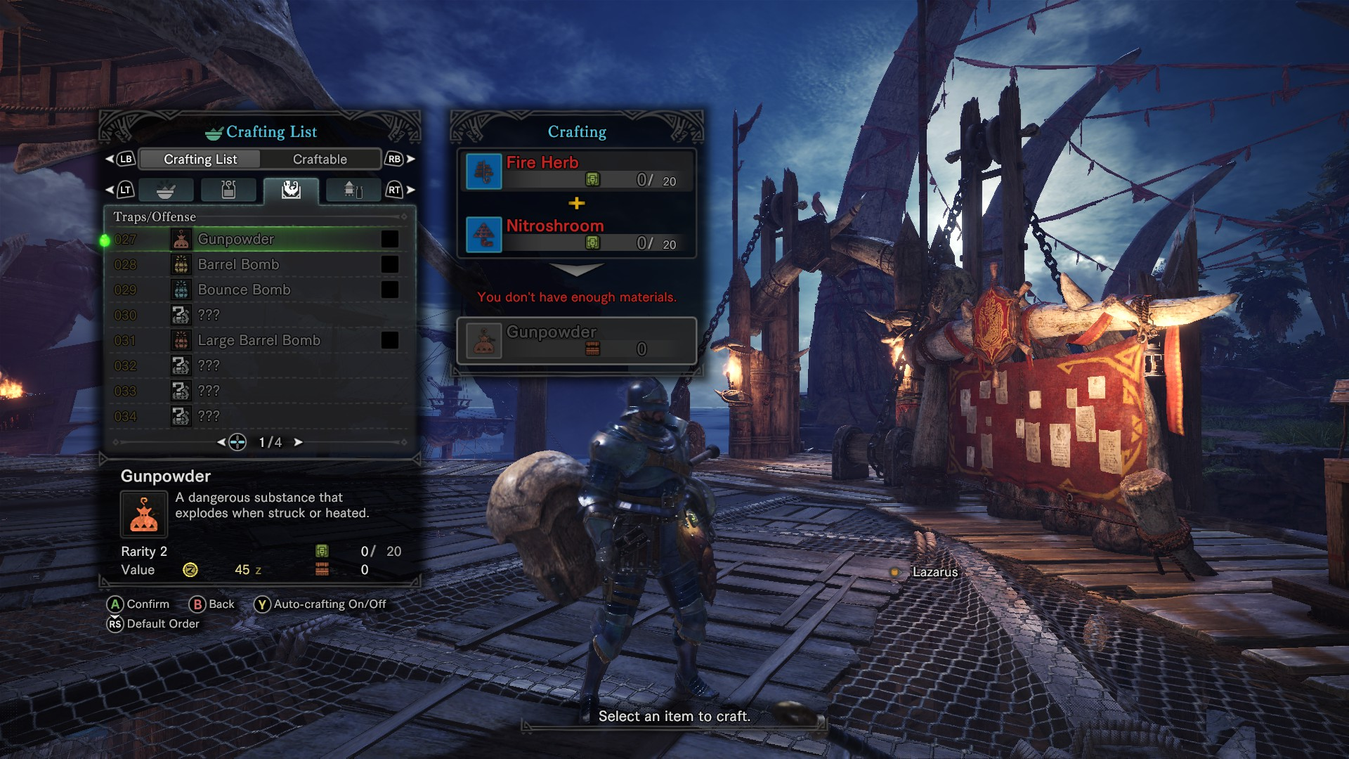Traps and offensive item crafting menu