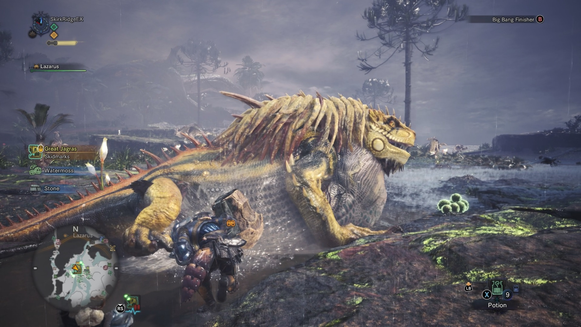 Player is attempting to break the Great Jagras' stomach