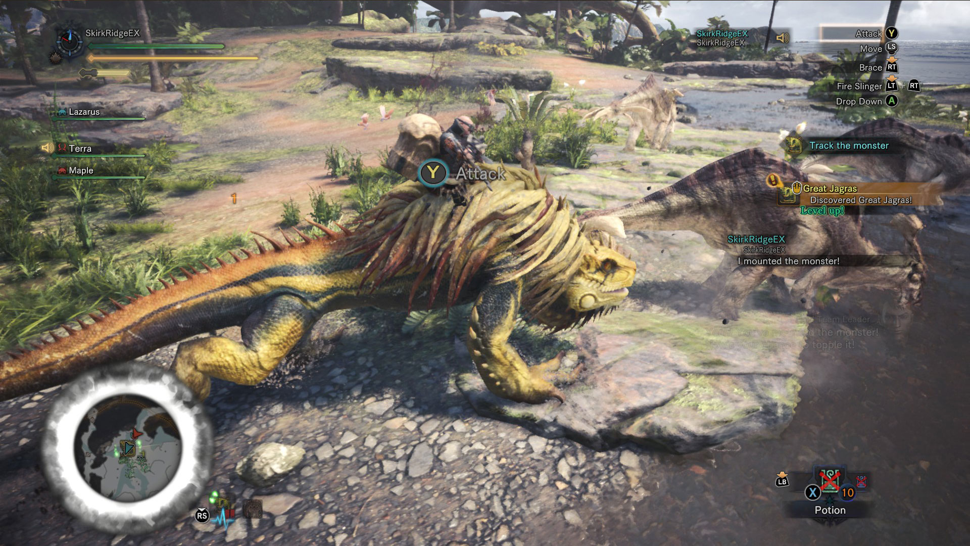 Player has mounted and is attacking the Great Jagras