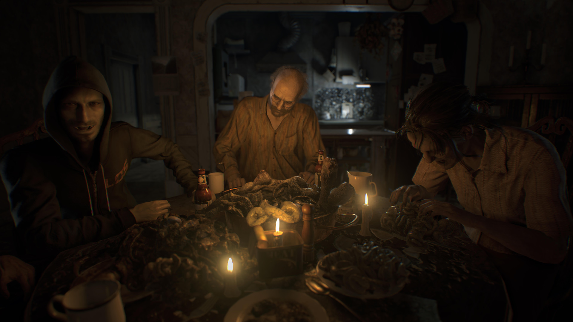 A screenshot of the horrible Baker family arranged around their horrible dinner table in Resident Evil 7