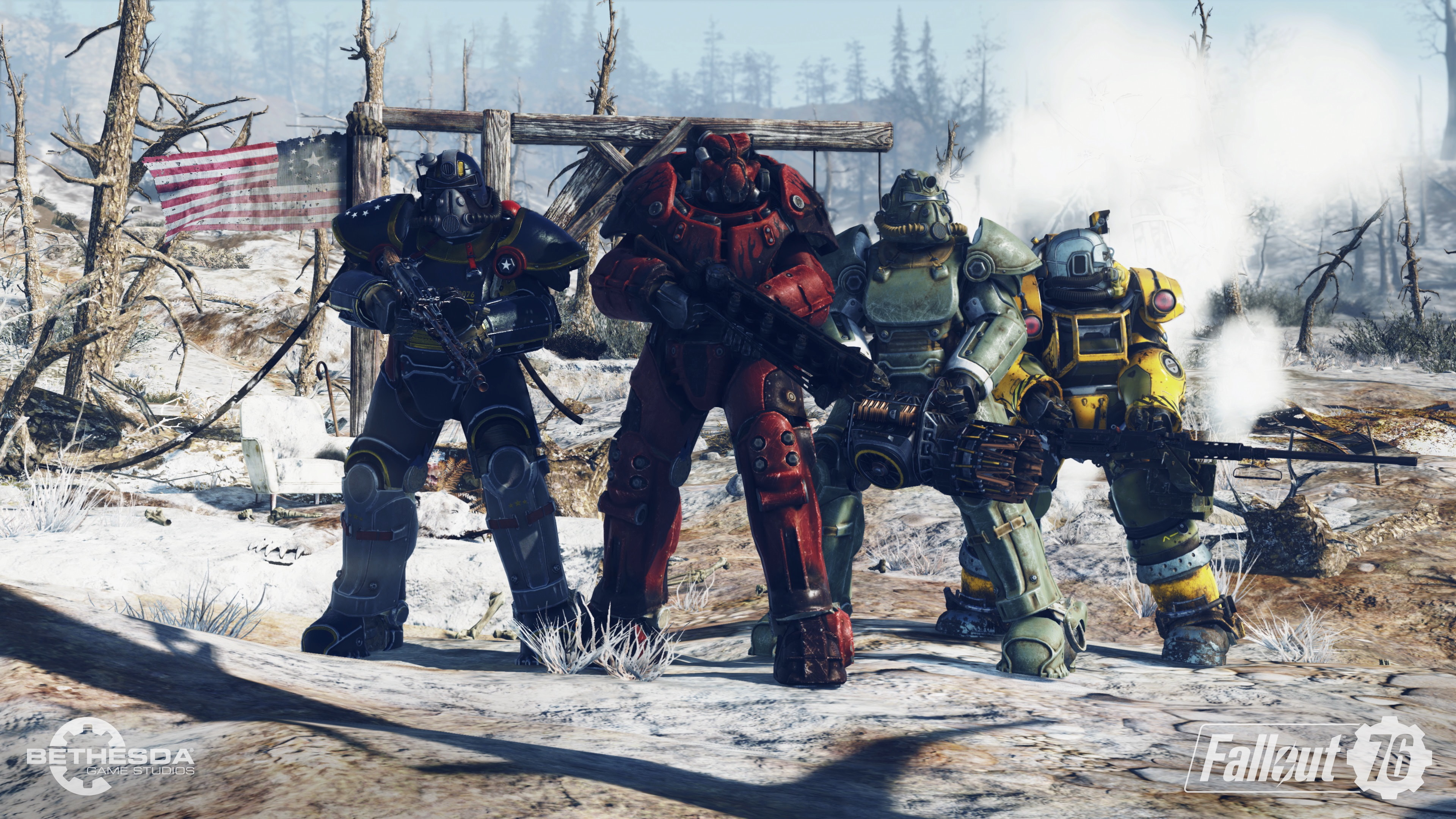 Four former Vault 76 residents in Power Armour.