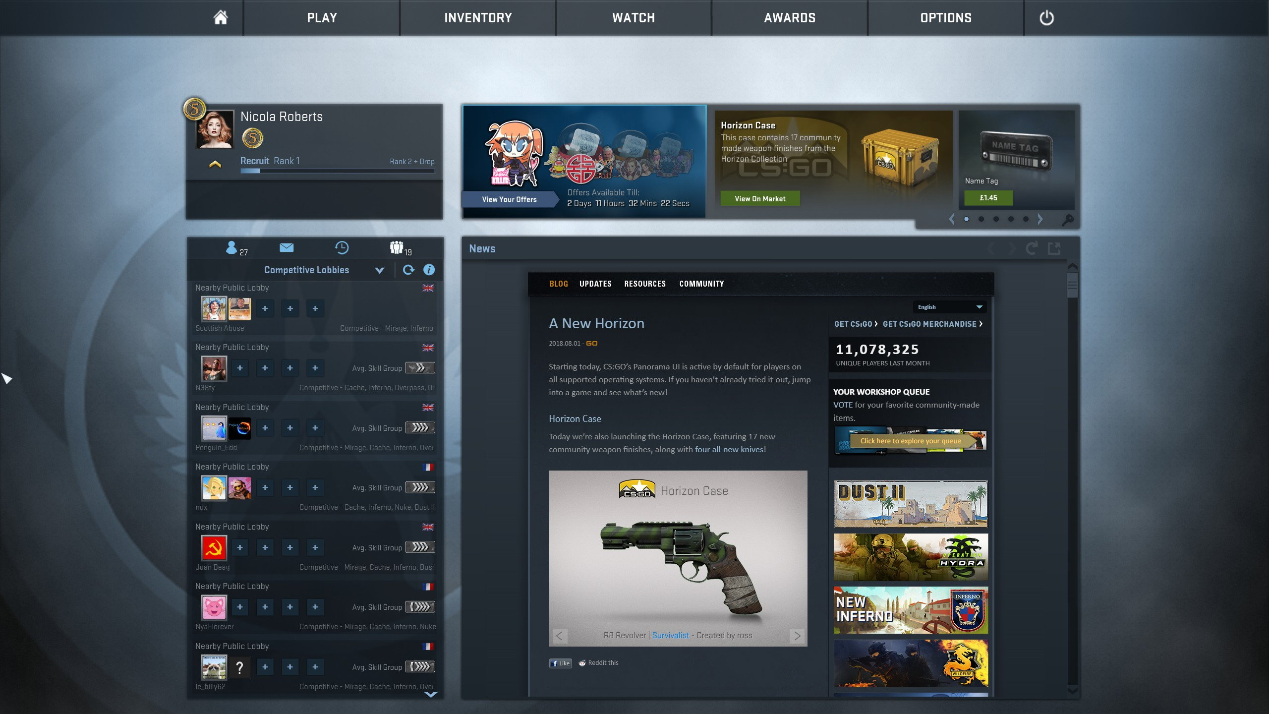 Counter-Strike: Global Offensive's new 'Panorama' UI is now go go go