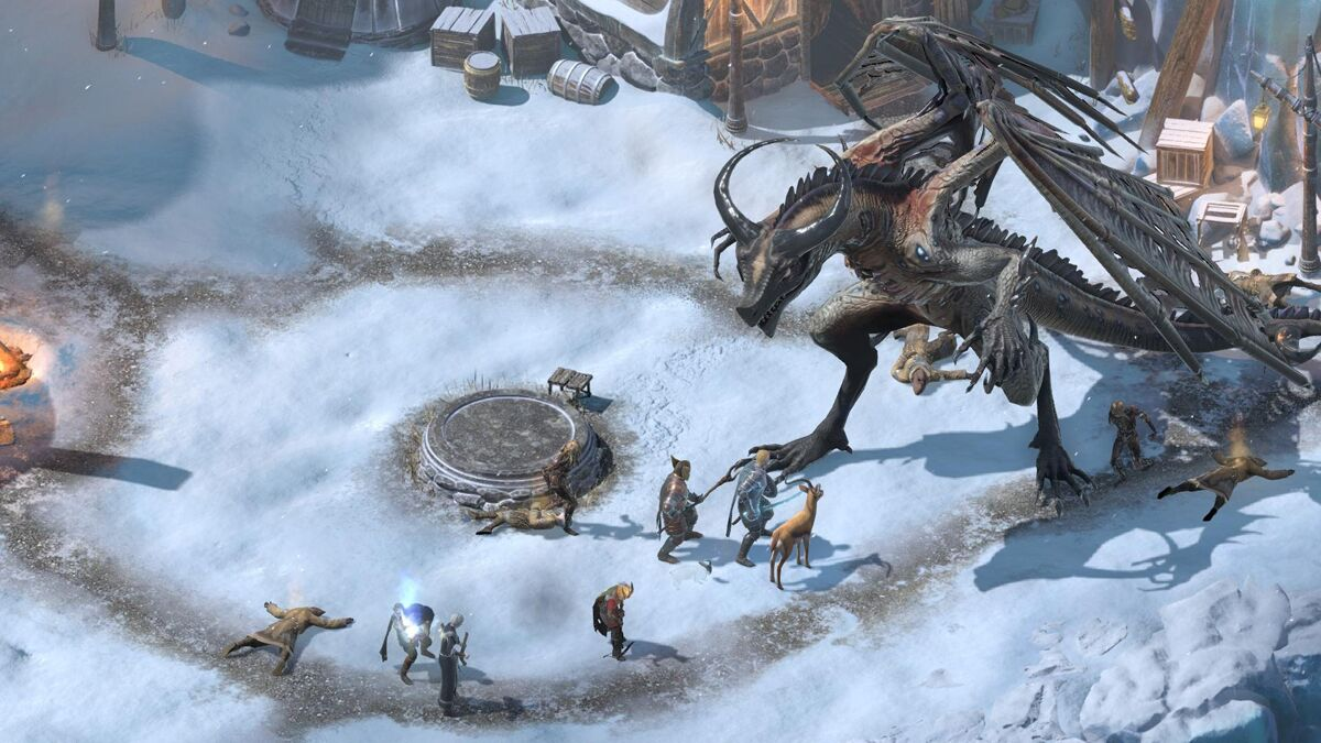 The party in Pillars of Eternity 2 encounter a large dragon-like monster in a snowy town