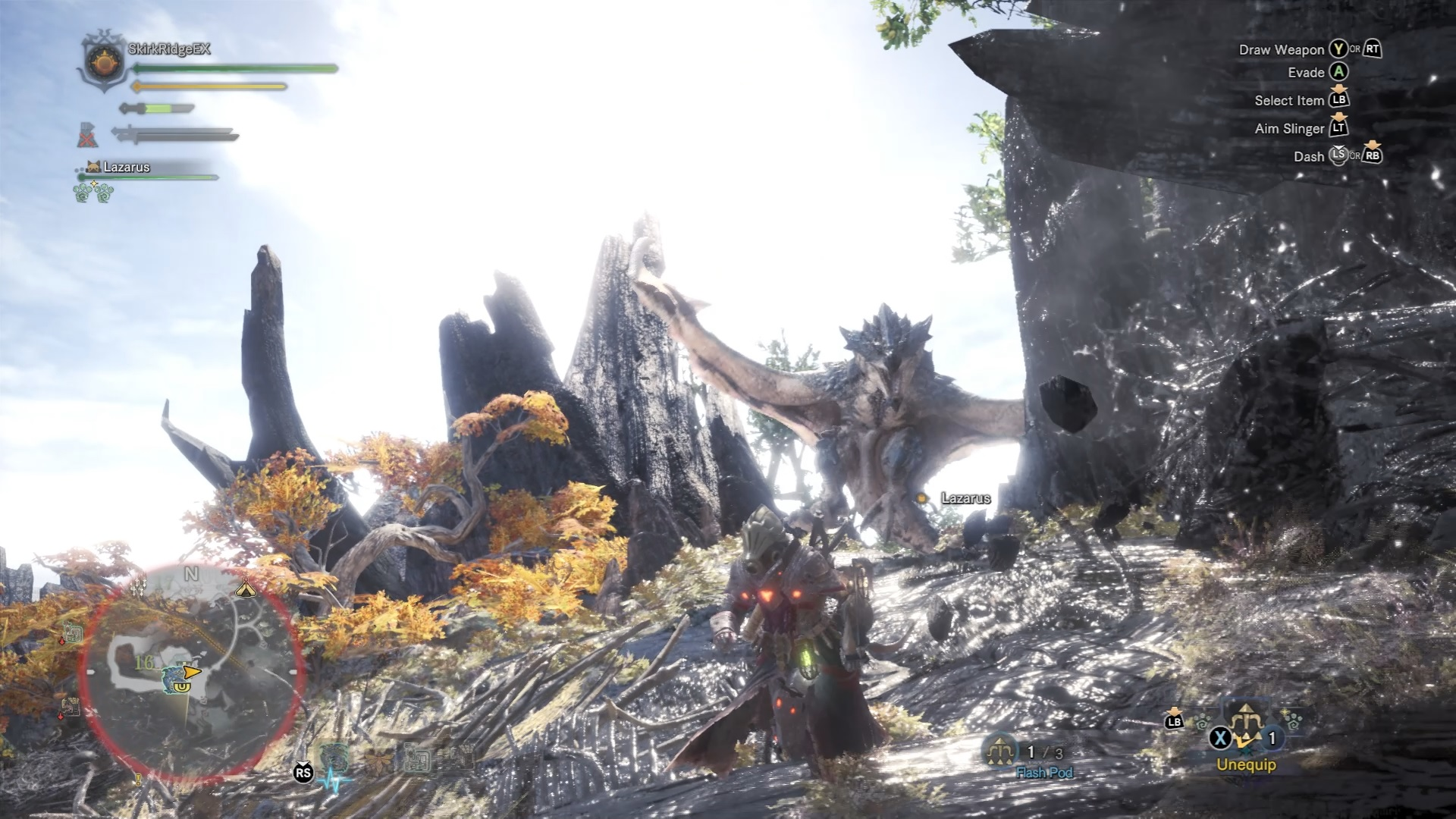 Hunter is about to fire a flash pod at the Azure Rathalos, which is flying close to the waterfall sealed by the cliff to the right.