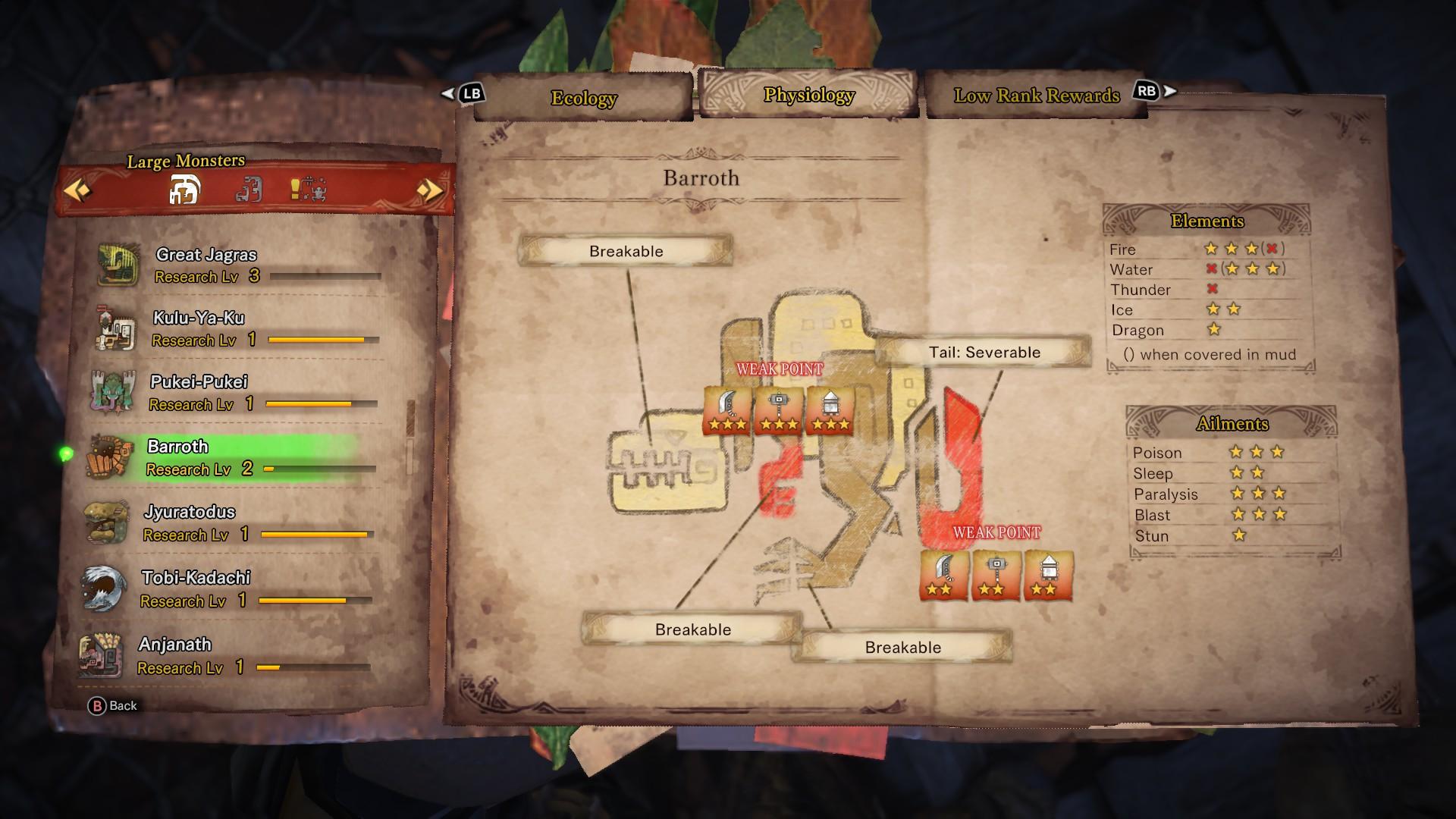 Monster field guide entry for Barroth