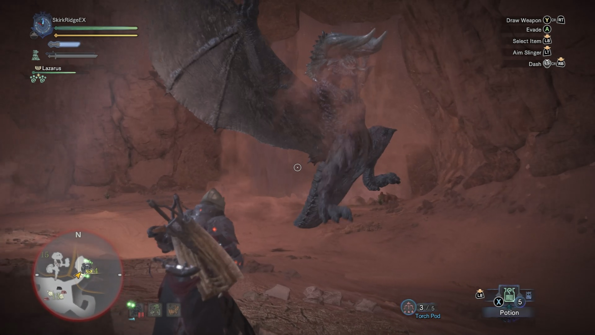 Black Diablos jumps out of the ground and tackles Palico.