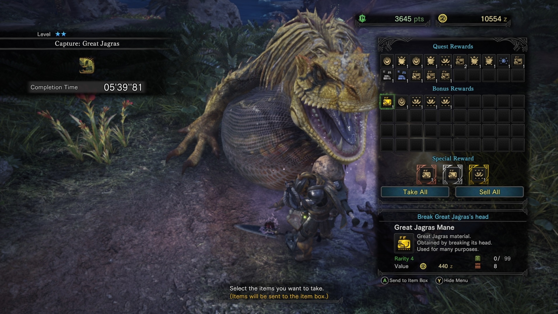 Rewards screen for capturing a Great Jagras.