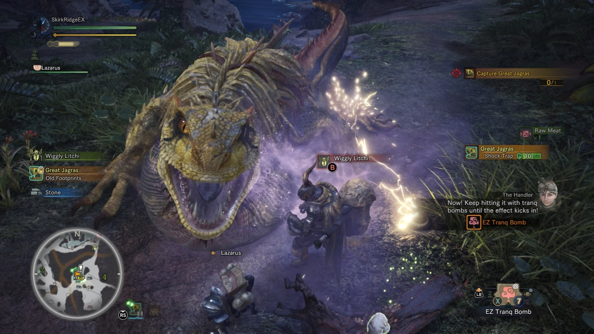 Player is using Tranq Bombs after stunning the Great Jagras with a Shock Trap.