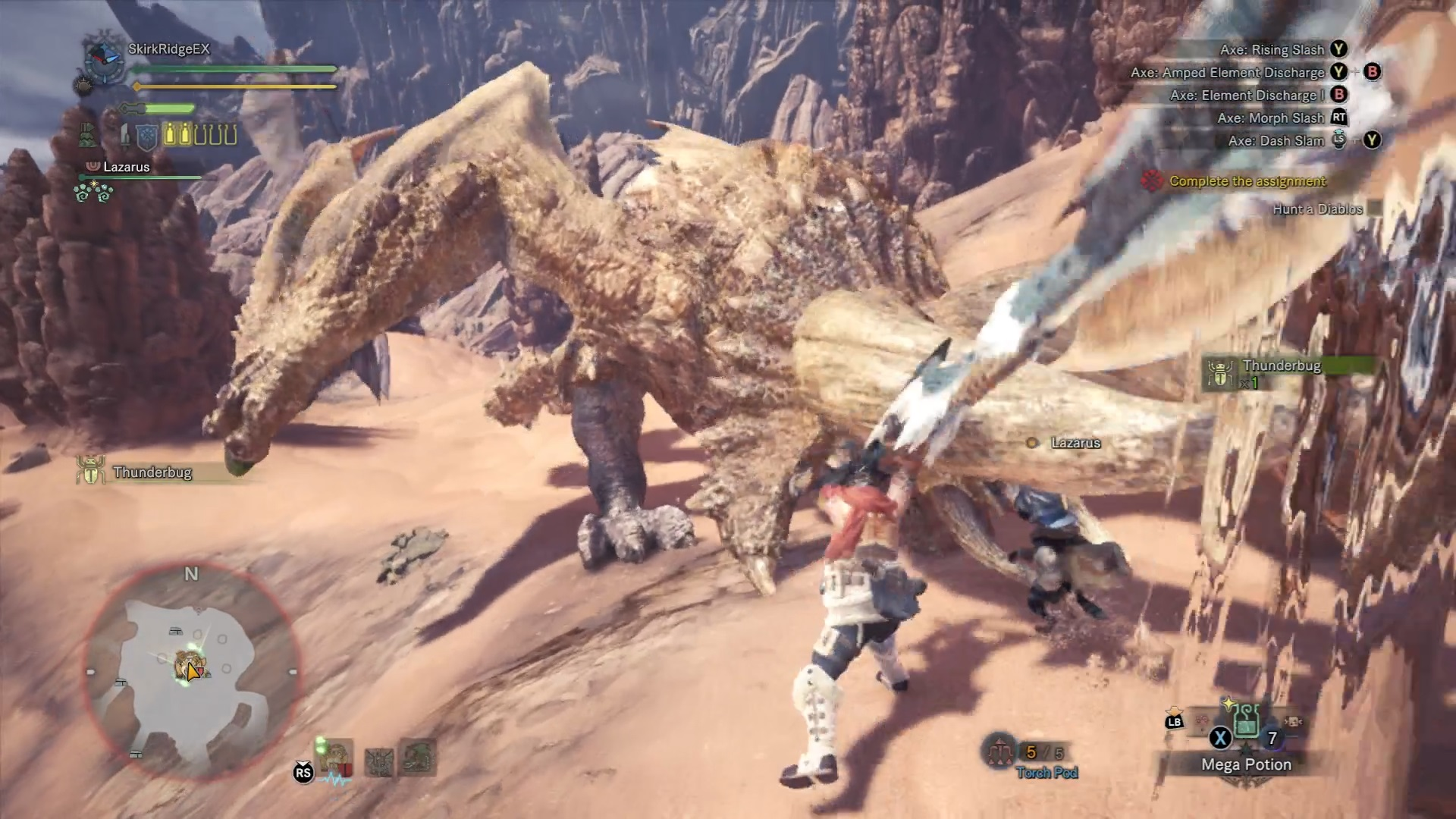 Diablos is stuck after charging into a pillar.