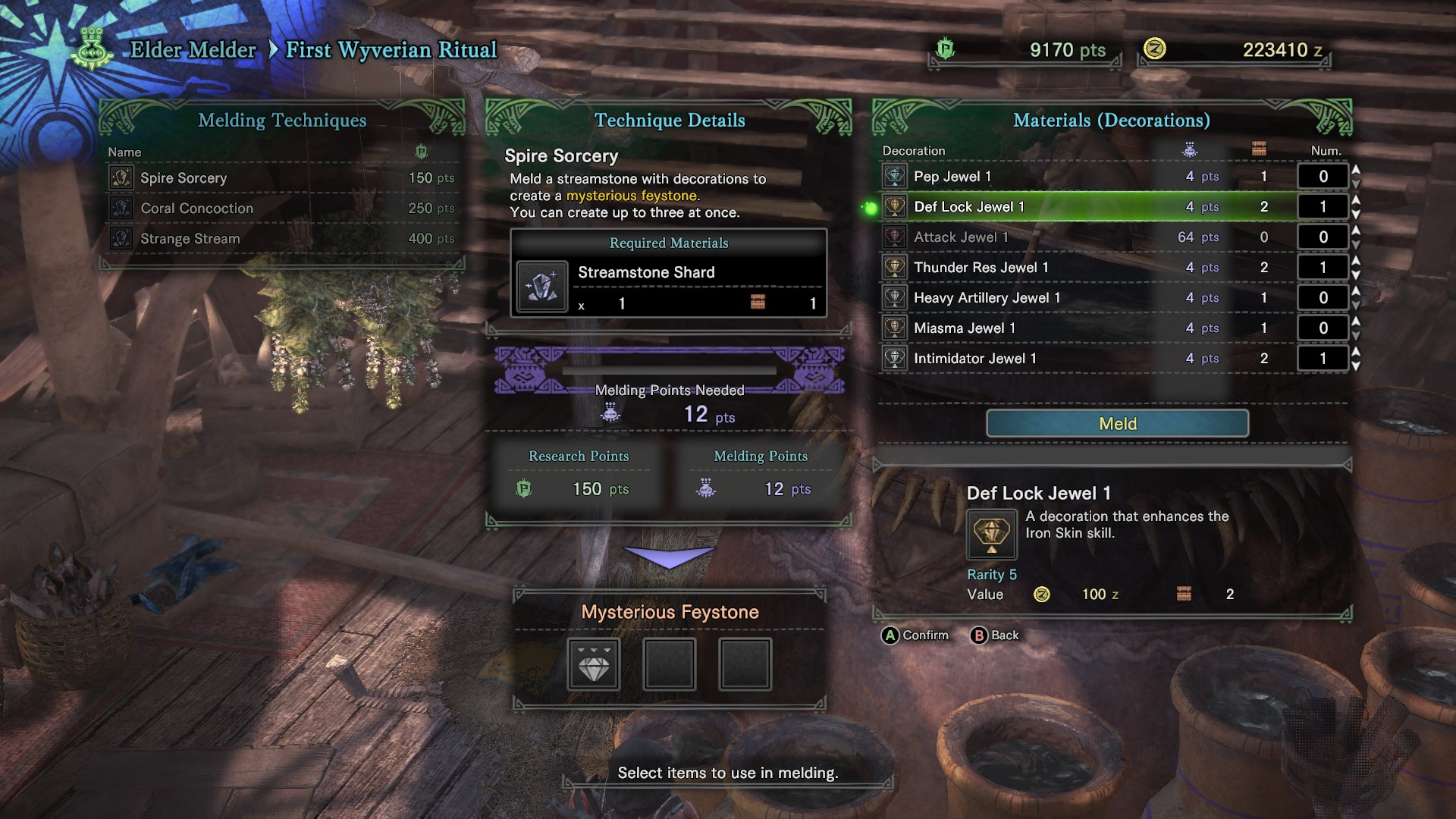 Hunter is in the first wyvern ritual menu.