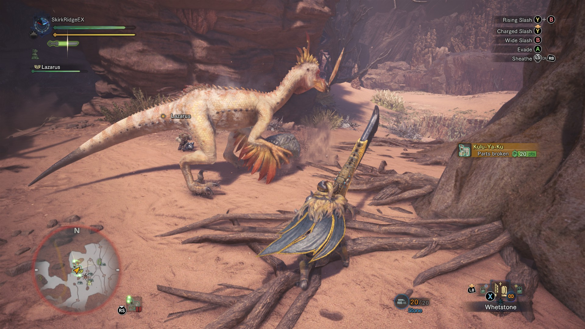 Player fighting Kulu-ya-ku which is now picking up a rock.