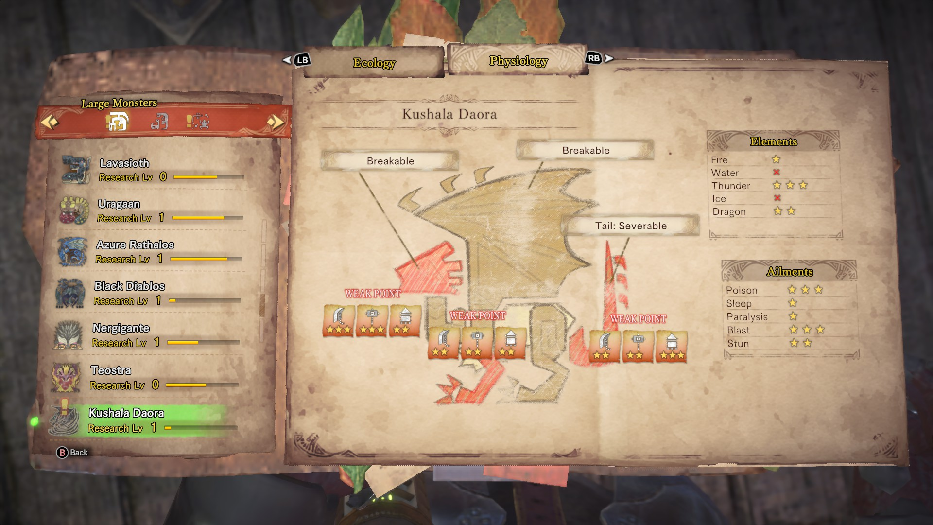 Kushala Daora's entry in the monster field guide.