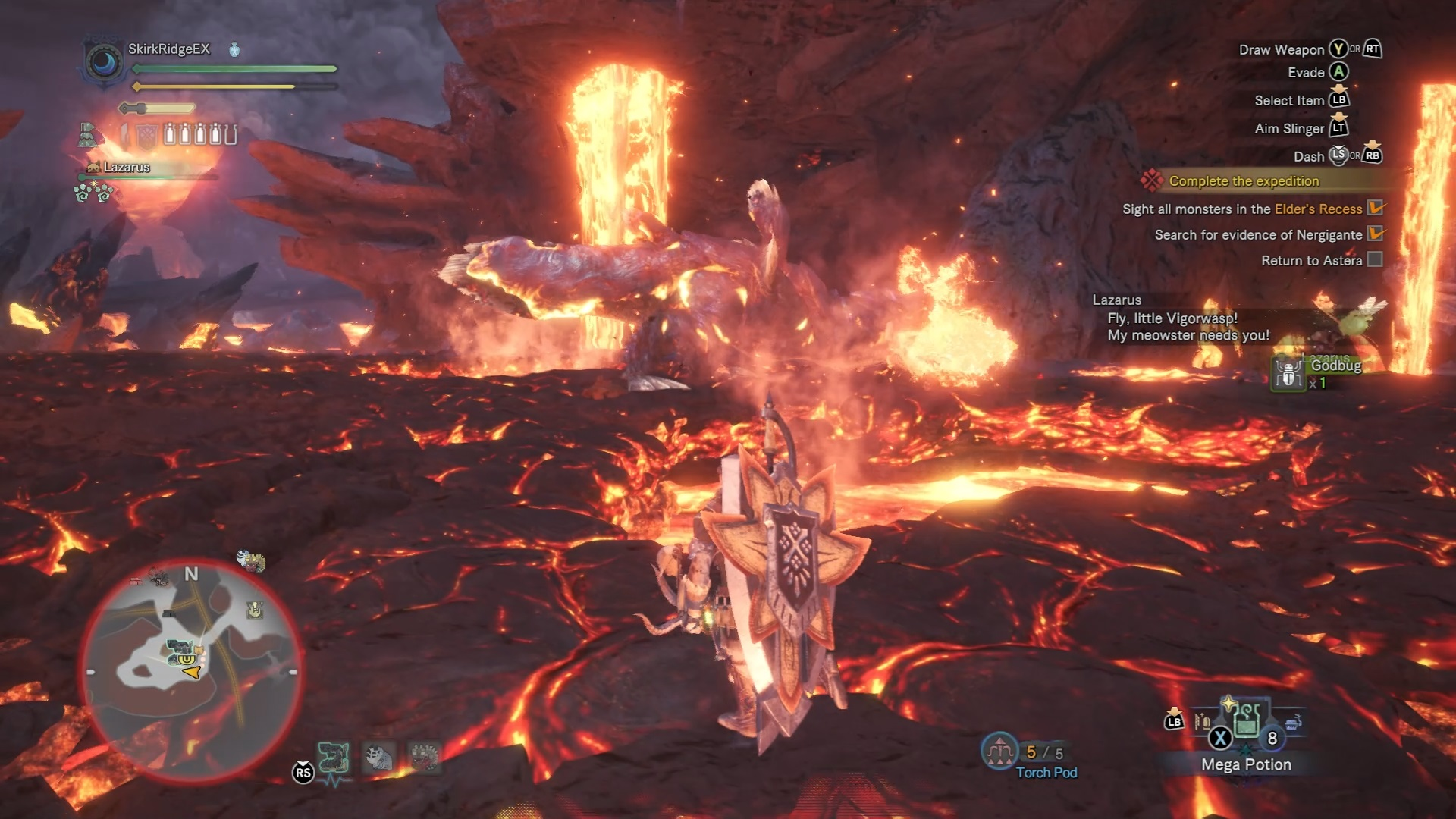 Lavasioth spitting a ball of magma at the hunter's Palico.